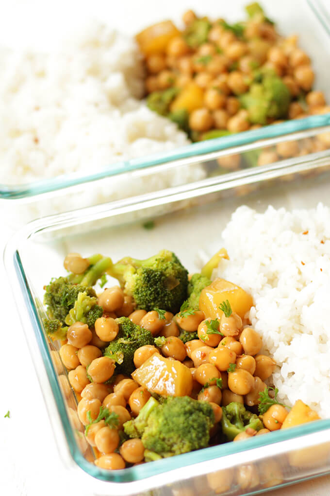 vegan teriyaki meal prep bowl